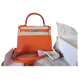 Hermès-Kelly 28 Sellier Feu Epsom-Orange
