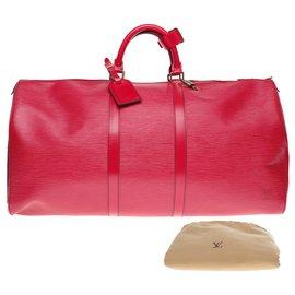 Louis Vuitton-Sac de voyage Louis Vuitton Keepall 55 en cuir épi rouge-Rouge