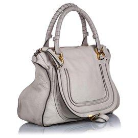 Chloé-Chloe Gray Large Marcie Leather Handbag-Grey
