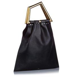 Céline-Celine Black Triangle Open Sac Handbag-Black,Golden