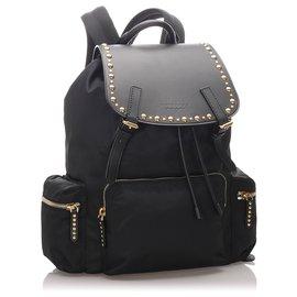 Burberry-Burberry Black Studded Nylon Backpack-Black,Golden