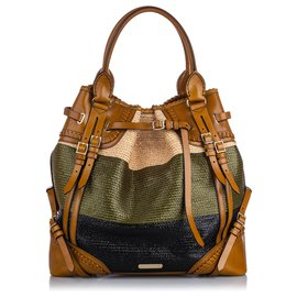 Burberry-Burberry Brown Raffia Whipstitch Tote-Brown,Multiple colors