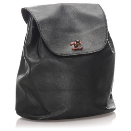 Chanel-Chanel Black Caviar CC Backpack-Black