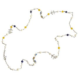 Chanel-Chanel pearls and cabochons long necklace-Silvery