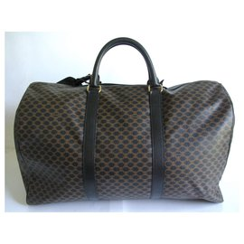 Céline-Canvas and black leather travel bag-Black