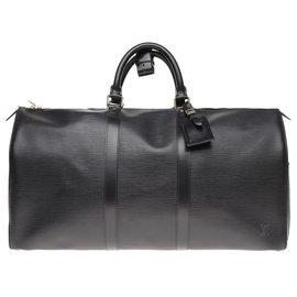 Louis Vuitton-Sac de voyage Louis Vuitton Keepall 50 en cuir épi noir-Noir