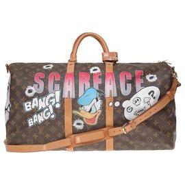 "Louis Vuitton-Louis Vuitton Keepall bag 55 shoulder strap customized ""Scarface II"" by artist PatBo!-Brown"