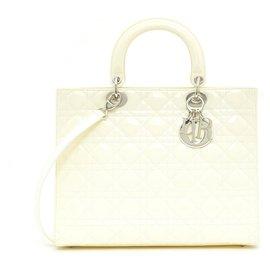 Dior-LADY DIOR GM OFF WHITE PATENT SILVER HDW-Écru