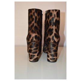 Saint Laurent-Saint Laurent Stiefeletten aus Wildleder mit Leopardenmuster-Braun,Schwarz