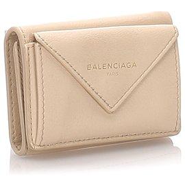 Balenciaga-Balenciaga Brown Papier Compact Wallet-Brown,Beige