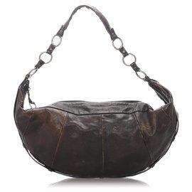 Yves Saint Laurent-YSL Brown Leather Shoulder Bag-Brown,Dark brown