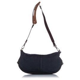 Yves Saint Laurent-YSL Blue Mombasa Denim Shoulder Bag-Brown,Blue,Dark brown,Navy blue
