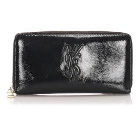 Yves Saint Laurent-YSL Black Wallet aus langem Lackleder-Schwarz