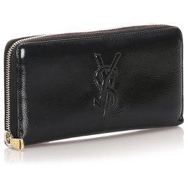 Yves Saint Laurent-YSL Black Patent Leather Long Wallet-Black
