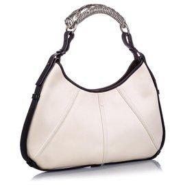 Yves Saint Laurent-YSL White Canvas Mombasa Shoulder Bag-Black,White