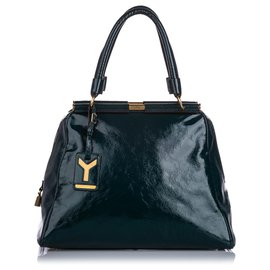 Yves Saint Laurent-YSL Green Majorelle Lacklederhandtasche-Grün