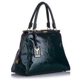 Yves Saint Laurent-YSL Green Majorelle Patent Leather Handbag-Green