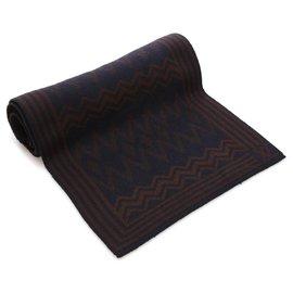 Louis Vuitton-Écharpe en laine imprimée noire Louis Vuitton-Noir