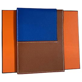 Hermès-Portefeuille porte-cartes Necto-Bleu,Caramel