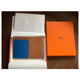 Hermès-Necto cardholder wallet-Blue,Caramel