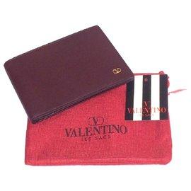 Valentino Garavani-VALENTINO vintage wallet-Dark red