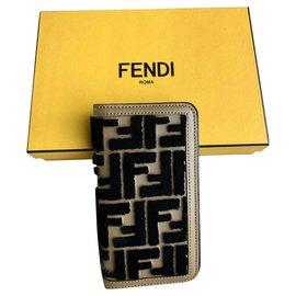 Fendi-Fendi multicolor flip-cover case-Brown,Caramel