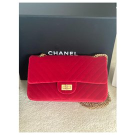 Chanel-2.55 chevron red velvet-Red