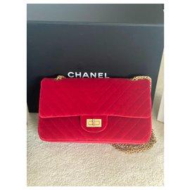 Chanel-2.55 velours rouge chevron-Rouge