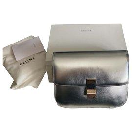Céline-Celine Medium classic bag in calf leather liege-Silvery,Grey