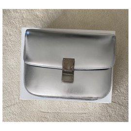 Céline-Celine Medium klassische Tasche aus Kalbsleder-Silber,Grau