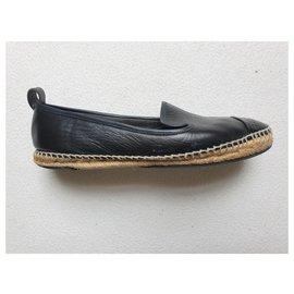 Fendi-Leather espadreilles-Black