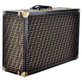 Fendi-Vintage travel luggage of the 1998 in calf leather with logos of the brand-Brown