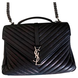 Yves Saint Laurent-College medium YSL handbag-Black