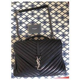 Yves Saint Laurent-College Medium YSL Handtasche-Schwarz