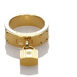 Hermès-Hermes Gold Loop Charms Cadenas Scarf Ring-Golden