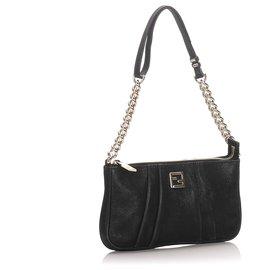 Fendi-Fendi Black Leather Shoulder Bag-Black