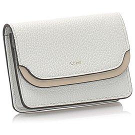 Chloé-Chloe White Leather Card Holder-Brown,White,Beige