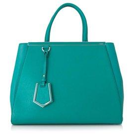 Fendi-Fendi Blue Medium 2Jours Leather Satchel-Blue,Turquoise