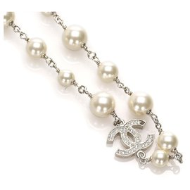 Chanel-Chanel White CC Crystal Faux Pearl Long Necklace-Silvery,White