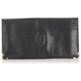 Céline-Celine Black Leather Wallet-Black