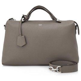 Fendi-Fendi Gray Leather By The Way Satchel-Grey