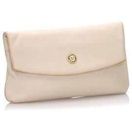 Céline-Celine White Leather Clutch Bag-White