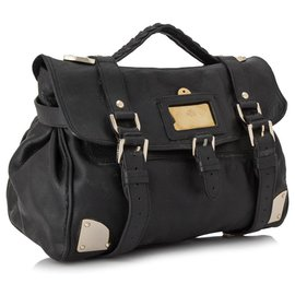 Mulberry-Mulberry Black Travel Day Leather Satchel-Black