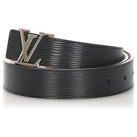Louis Vuitton-Ceinture Louis Vuitton Initiale Réversible Cuir Epi Noir-Noir