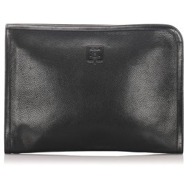 Céline-Celine Black Leather Clutch Bag-Black