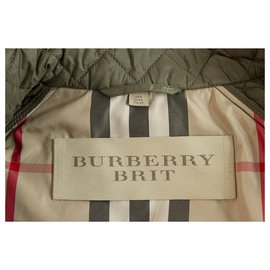 Burberry-Burberry BRIT Khaki Checked Single Brusted Quilted Lightweight Jacket US6 UK8-Khaki