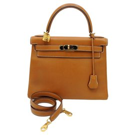 Hermès-hermes kelly 28 BARENIA FAUVE GHW LEATHER-Golden,Caramel
