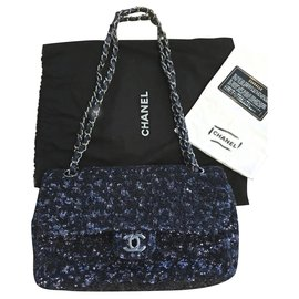 Chanel-Rare Chanel sequin classic flap bag-Blue