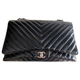 Chanel-Chanel black patent chevron Jumbo flap bag-Black