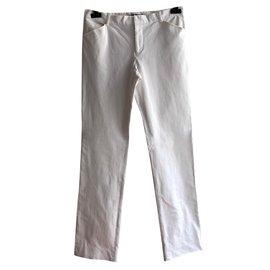 Ralph Lauren-Pantalon stretch en coton blanc-Blanc